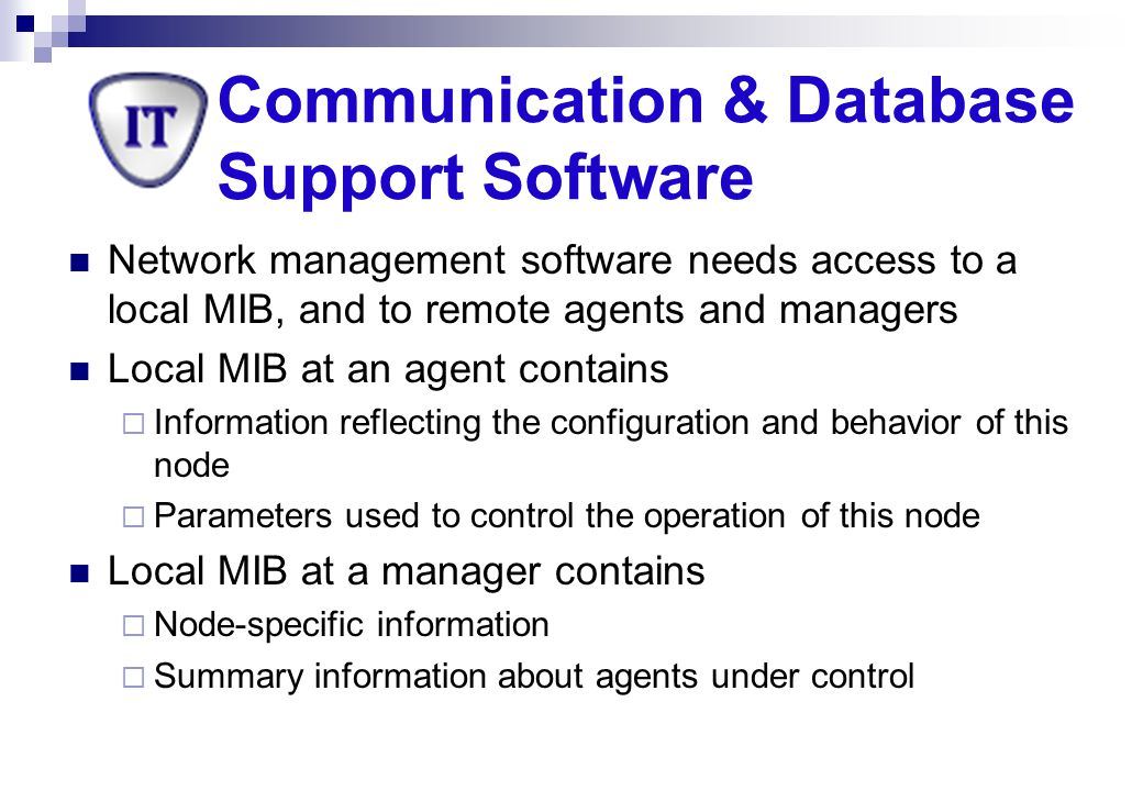 Communication & Database Support Software