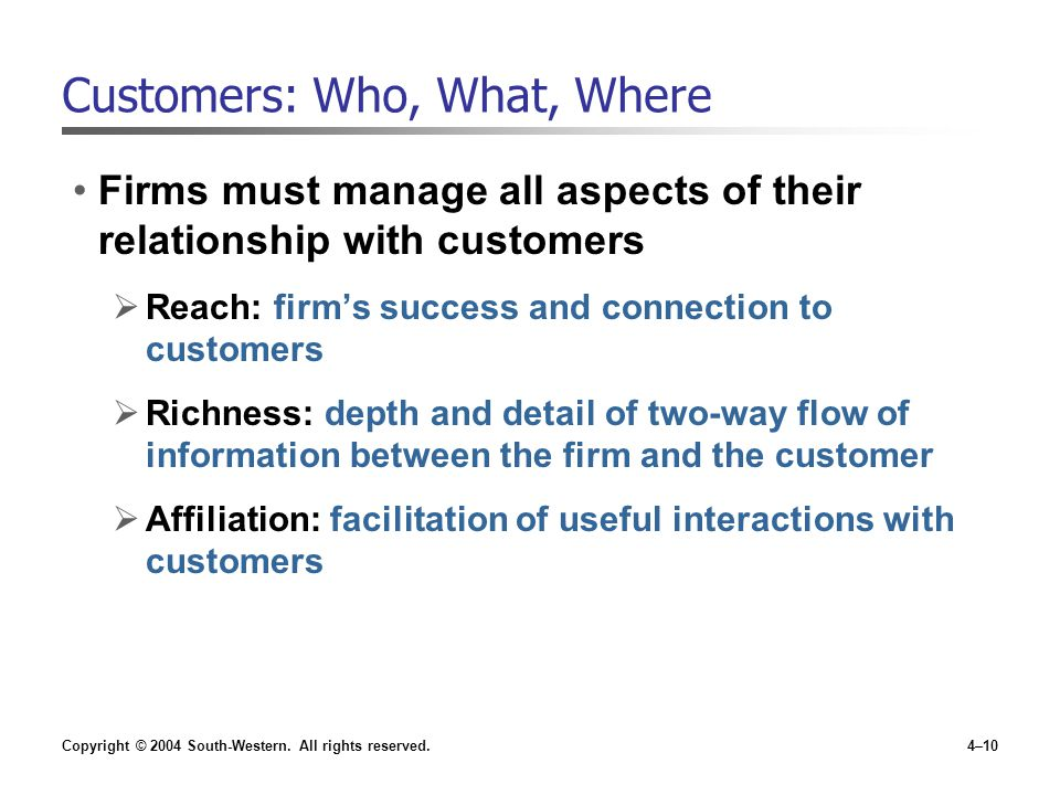 Customers: Who, What, Where