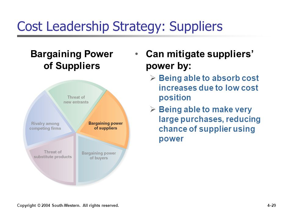 Cost Leadership Strategy: Suppliers