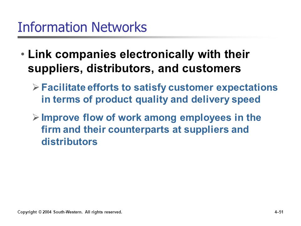 Information Networks Link companies electronically with their suppliers, distributors, and customers.