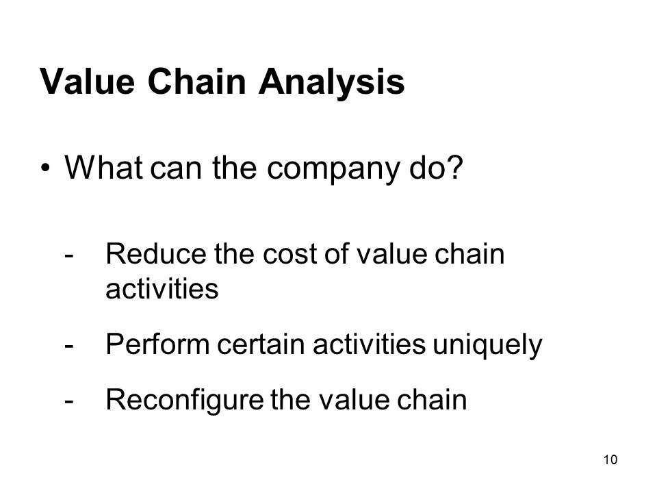 Value Chain Analysis What can the company do