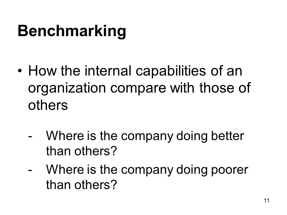 Benchmarking How the internal capabilities of an organization compare with those of others. - Where is the company doing better than others