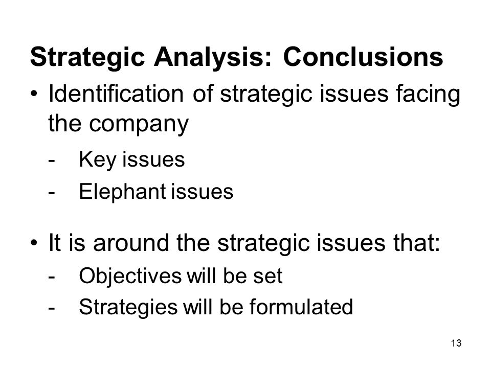 Strategic Analysis: Conclusions