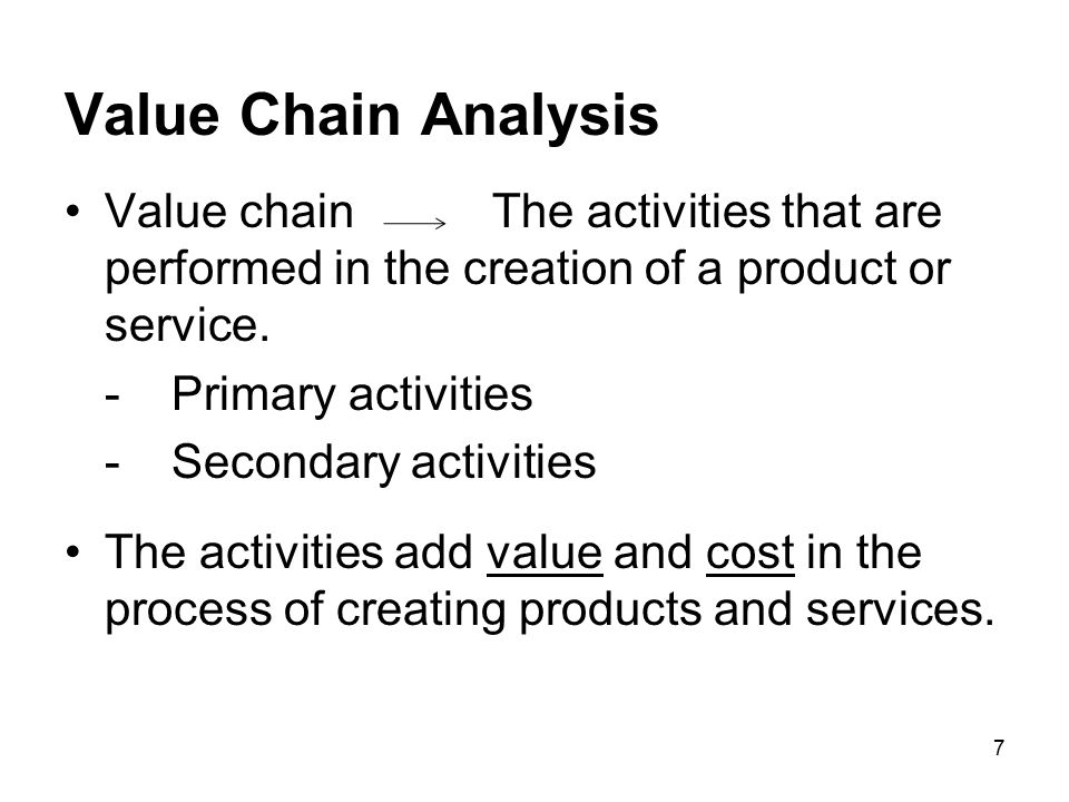 Value Chain Analysis Value chain The activities that are performed in the creation of a product or service.