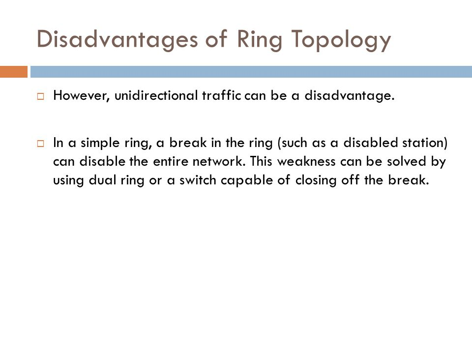 Disadvantages of Ring Topology