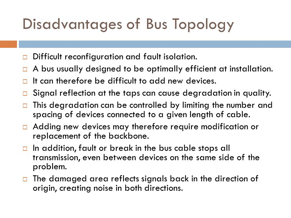Disadvantages of Bus Topology