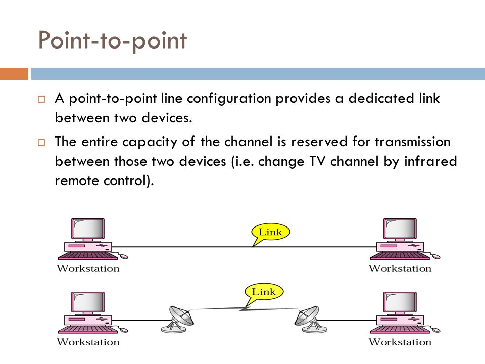 Point-to-point A point-to-point line configuration provides a dedicated link between two devices.