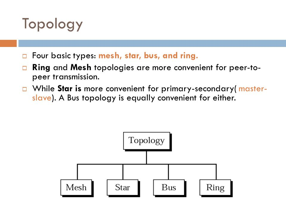 Topology Four basic types: mesh, star, bus, and ring.