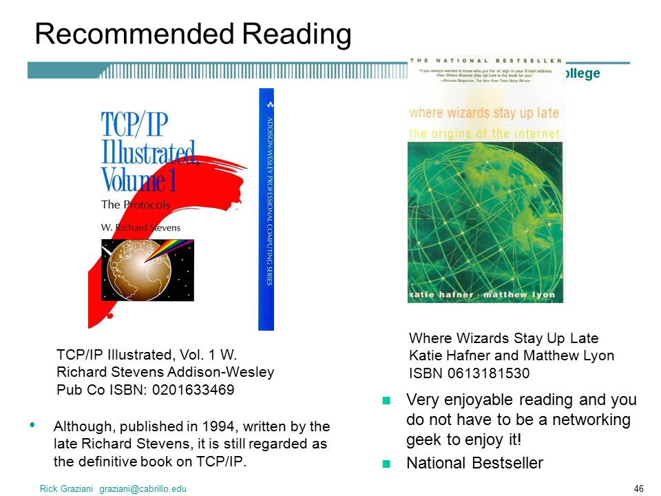 Recommended Reading Where Wizards Stay Up Late Katie Hafner and Matthew Lyon ISBN 0613181530.