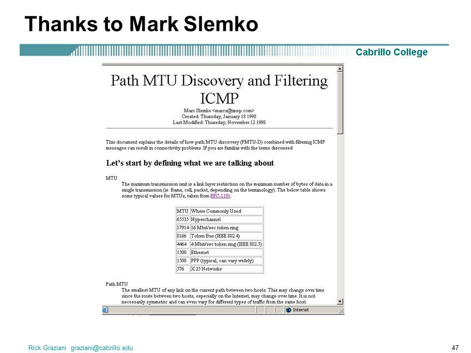 Thanks to Mark Slemko Rick Graziani graziani@cabrillo.edu