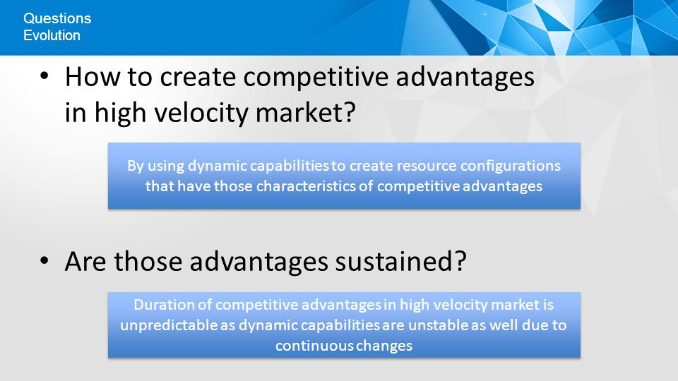 How to create competitive advantages in high velocity market