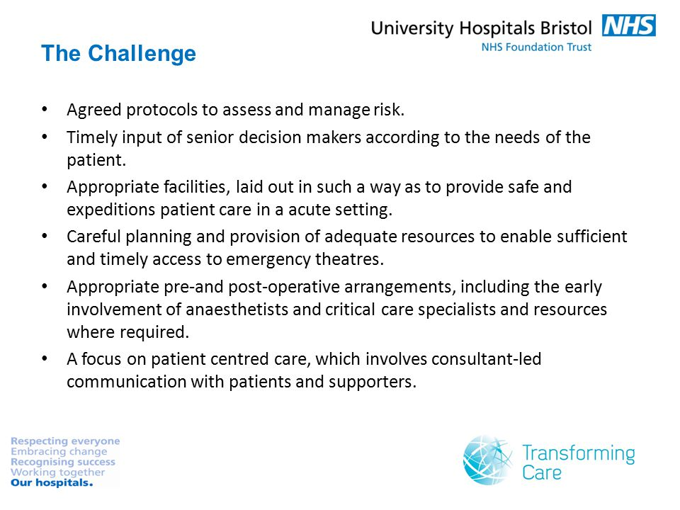 The Challenge Agreed protocols to assess and manage risk.
