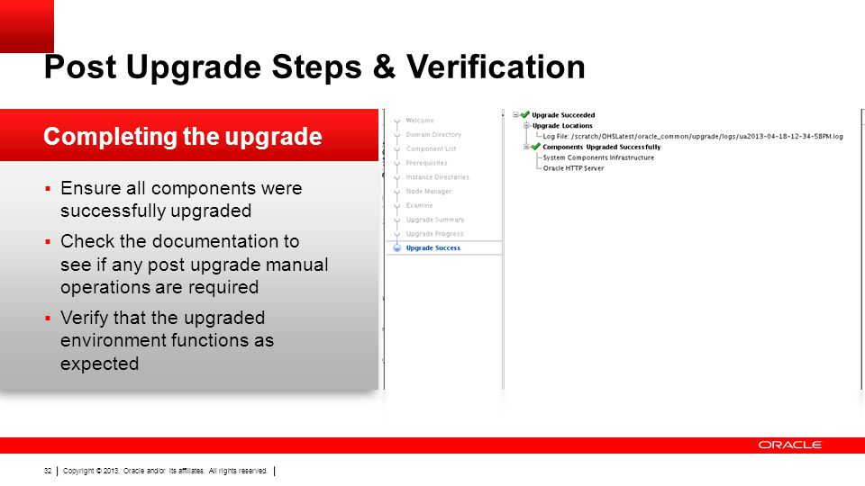 Post Upgrade Steps & Verification