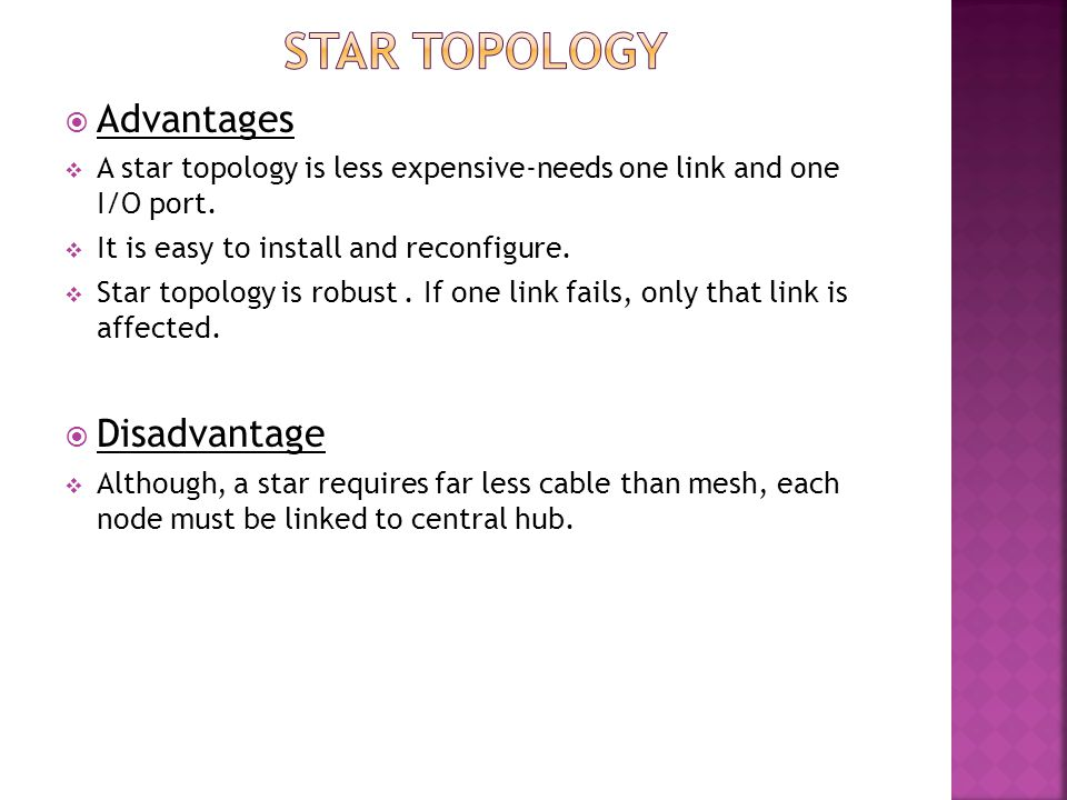 STAR topology Advantages Disadvantage