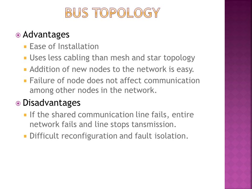 Bus topology Advantages Disadvantages Ease of Installation