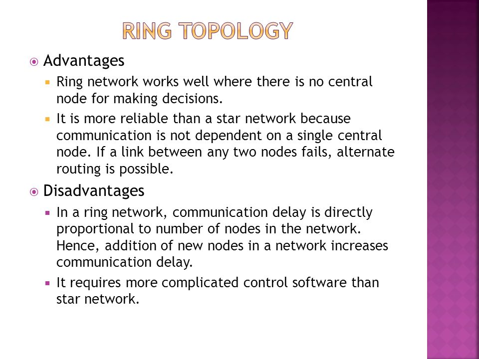 RING TOPOLOGY Advantages Disadvantages