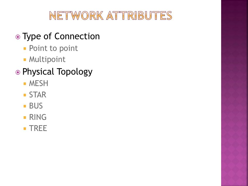 Network ATTRIBUTES Type of Connection Physical Topology Point to point