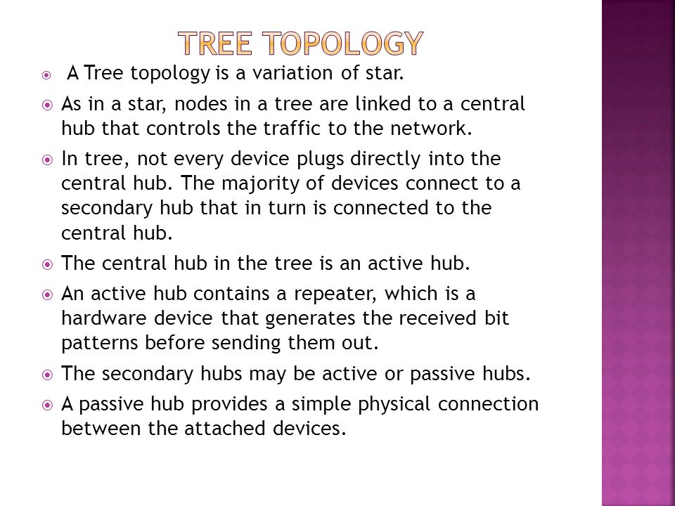 TREE TOPOLOGY A Tree topology is a variation of star.