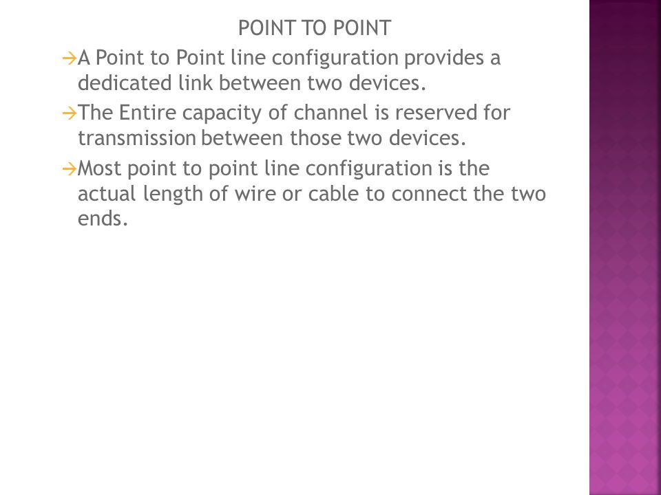 POINT TO POINT A Point to Point line configuration provides a dedicated link between two devices.
