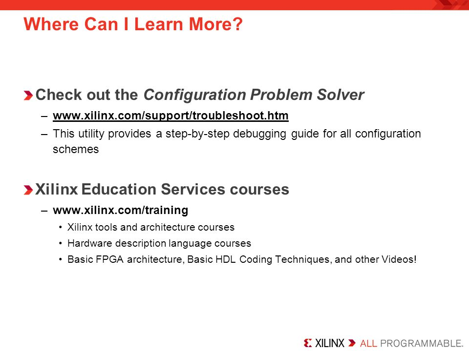 Where Can I Learn More Check out the Configuration Problem Solver