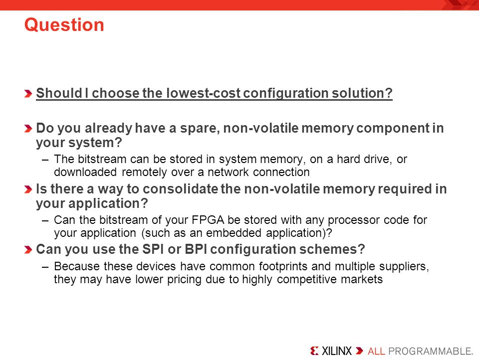 Question Should I choose the lowest-cost configuration solution