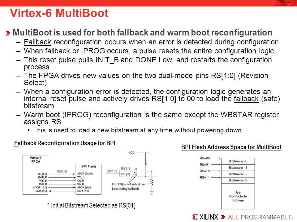 Virtex-6 MultiBoot MultiBoot is used for both fallback and warm boot reconfiguration.