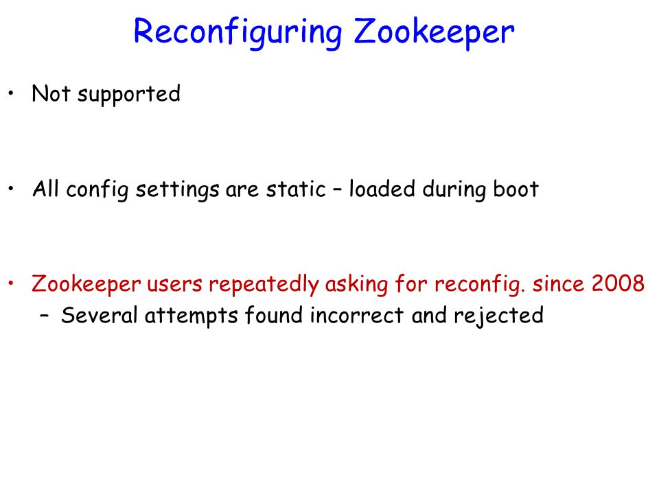 Reconfiguring Zookeeper