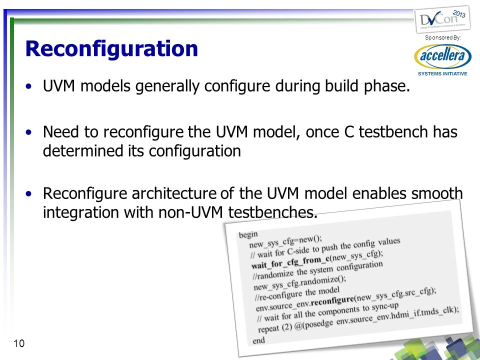 Reconfiguration UVM models generally configure during build phase.