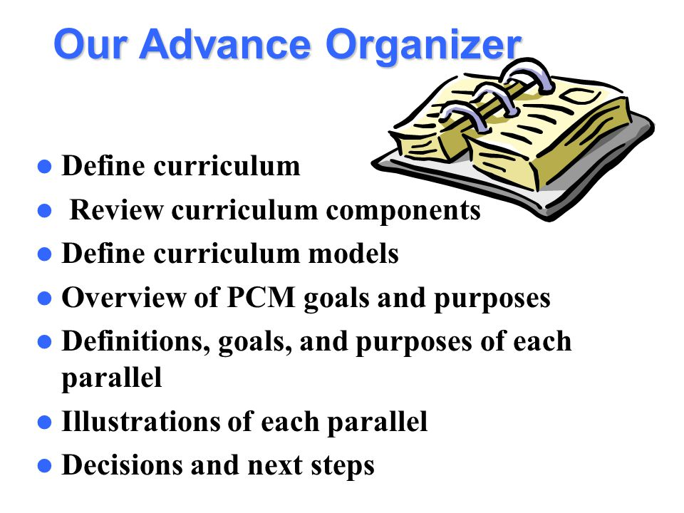 Our Advance Organizer Define curriculum Review curriculum components