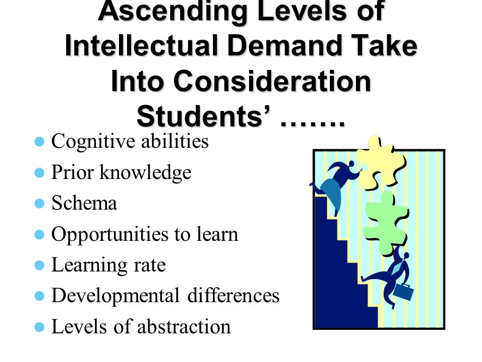 Ascending Levels of Intellectual Demand Take Into Consideration Students' …….