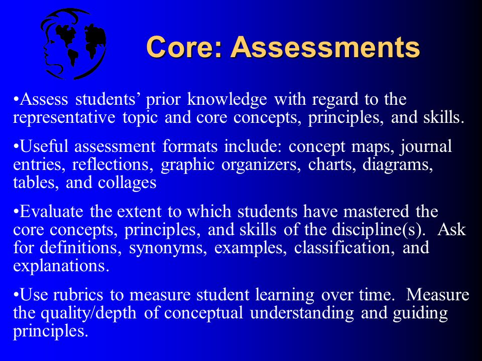 Core: Assessments Assess students' prior knowledge with regard to the representative topic and core concepts, principles, and skills.