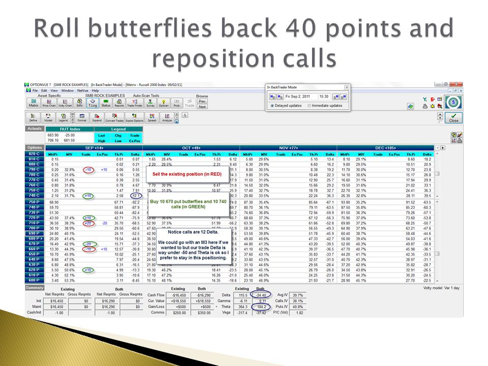 Roll butterflies back 40 points and reposition calls