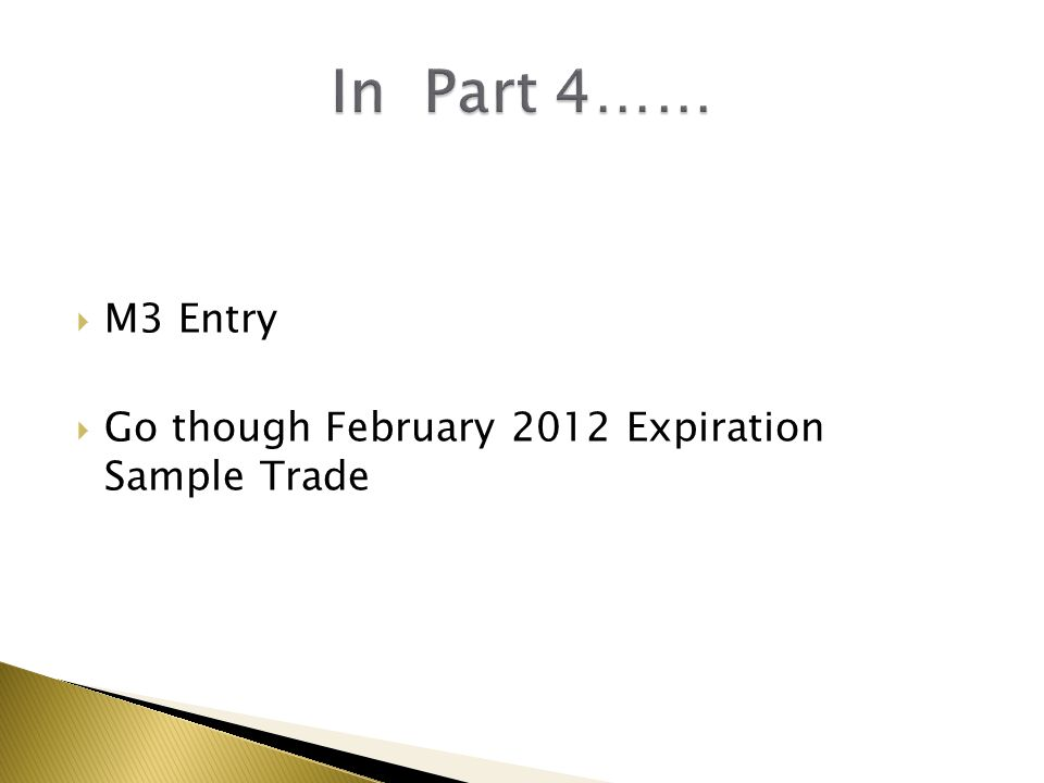 In Part 4…… M3 Entry Go though February 2012 Expiration Sample Trade