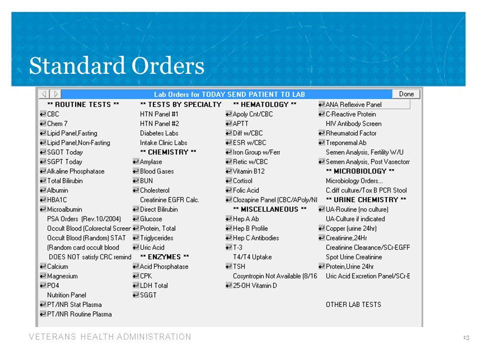 Standard Orders