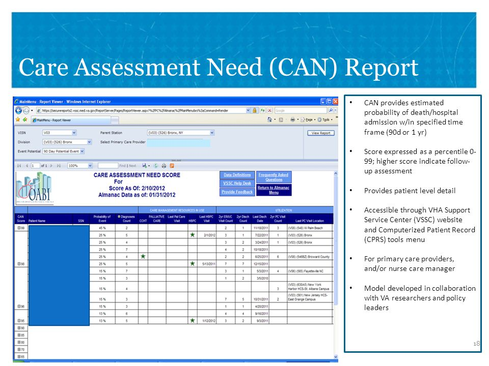Care Assessment Need (CAN) Report