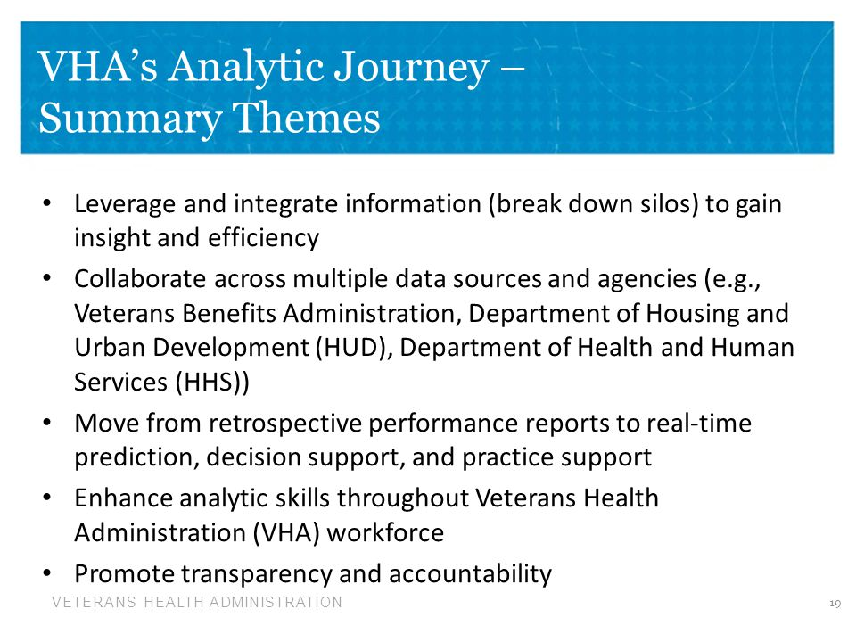 VHA's Analytic Journey – Summary Themes