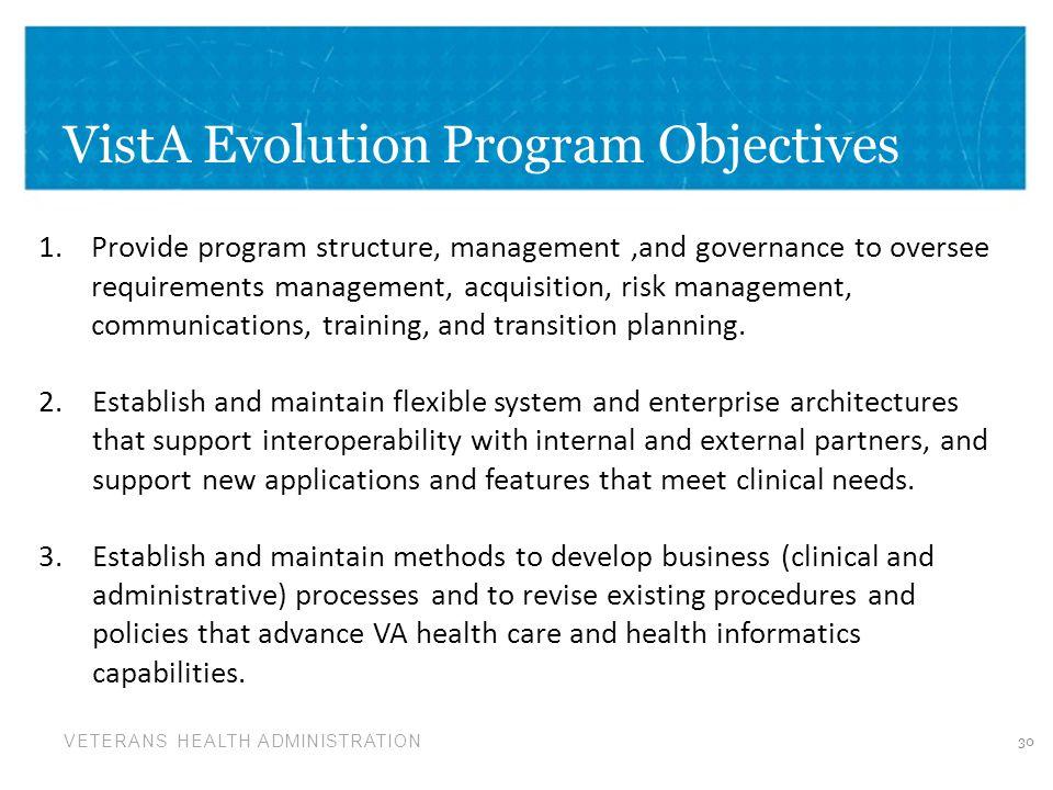 VistA Evolution Program Objectives