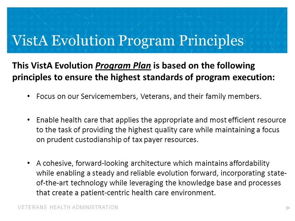 VistA Evolution Program Principles