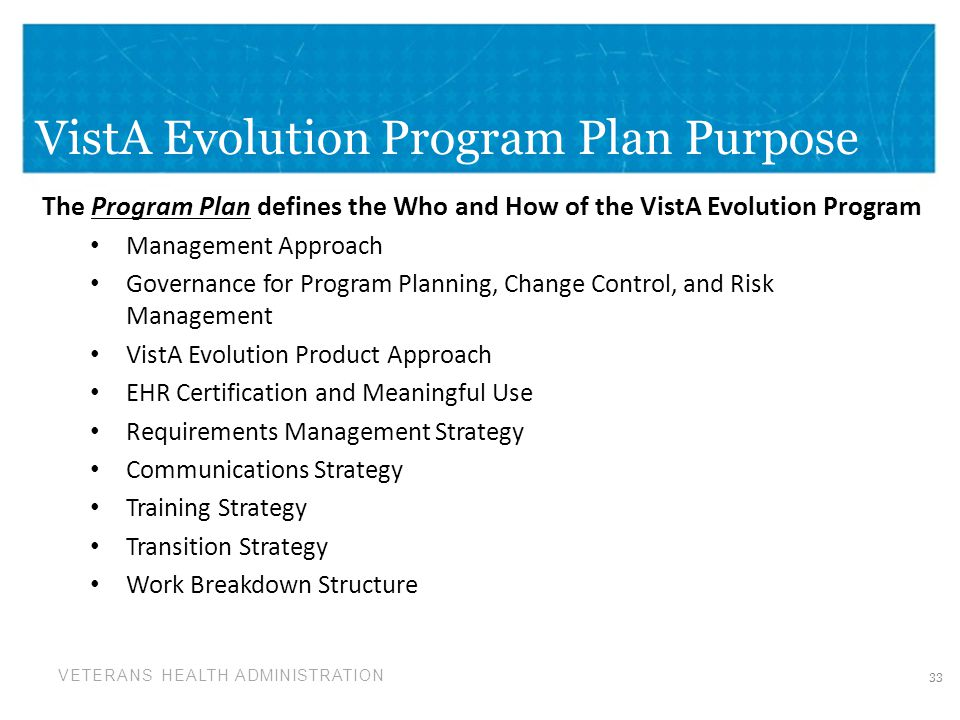 VistA Evolution Program Plan Purpose