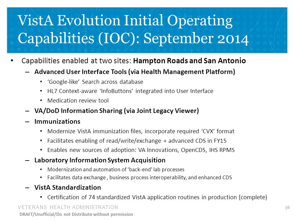 VistA Evolution Initial Operating Capabilities (IOC): September 2014