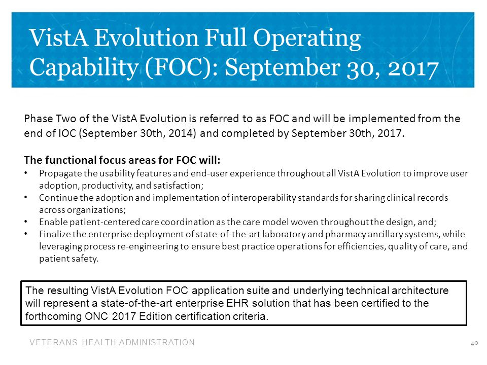 VistA Evolution Full Operating Capability (FOC): September 30, 2017