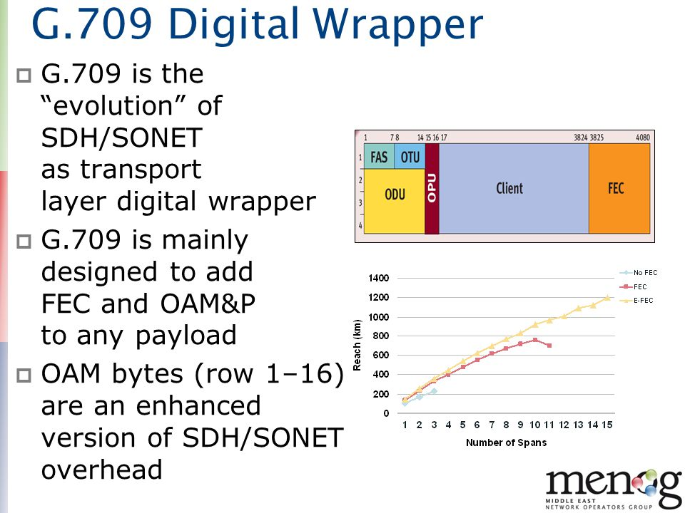 G.709 Digital Wrapper G.709 is the evolution of SDH/SONET as transport layer digital wrapper.