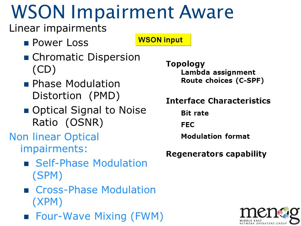 WSON Impairment Aware Linear impairments Power Loss