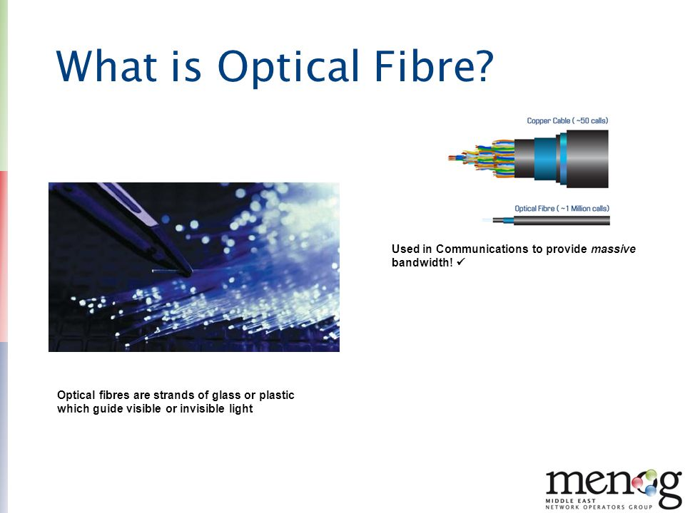 What is Optical Fibre Used in Communications to provide massive bandwidth! 