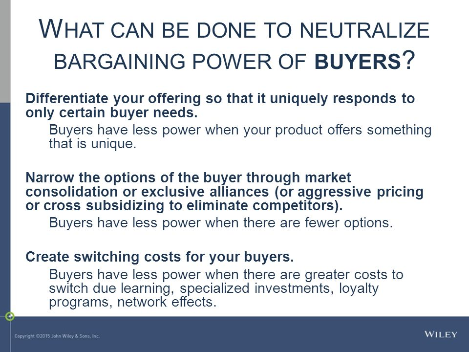 What can be done to neutralize bargaining power of buyers