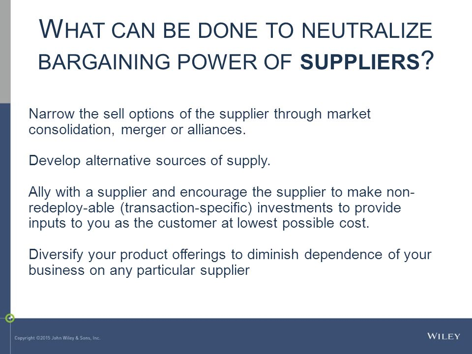 What can be done to neutralize bargaining power of suppliers