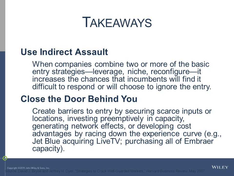 Takeaways Use Indirect Assault Close the Door Behind You