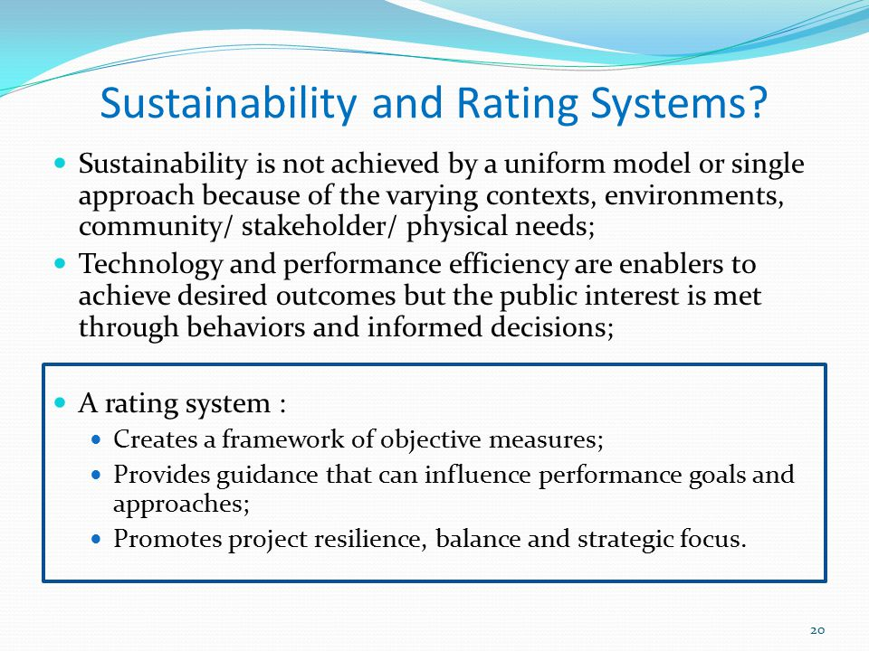 Sustainability and Rating Systems