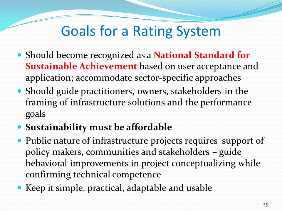 Goals for a Rating System