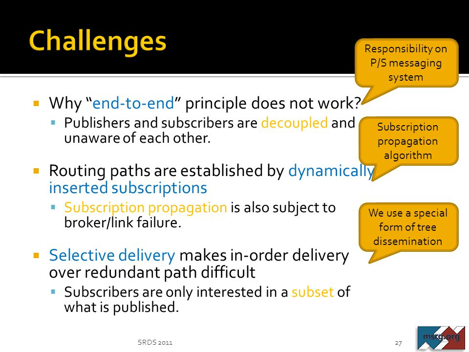 Challenges Why end-to-end principle does not work